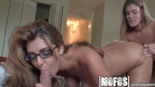 Mofos – Two sexy brunettes take turn on big dick