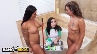 BANGBROS – Lesbian Lovers Spicy J and Victoria Banxxx Turn Maid Kiley Jay Into Their Bitch