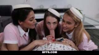 BFFS – Sexy Flight Attendants Suck Fat Cock In A Mansion