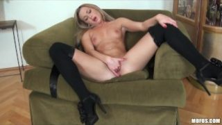 Blonde Teen in stockings finger fucks her tight wet pussy