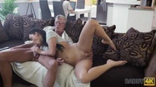 DADDY4K – Skillful old man manages to fuck comely brunette on sofa