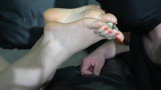 slave foot cum shot and clean own cum in